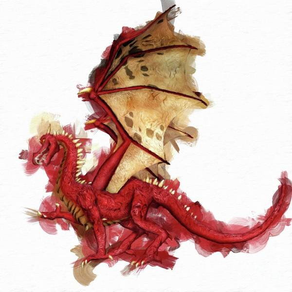 Pixie Painting - Red Dragon By Mary Bassett by Mary Bassett