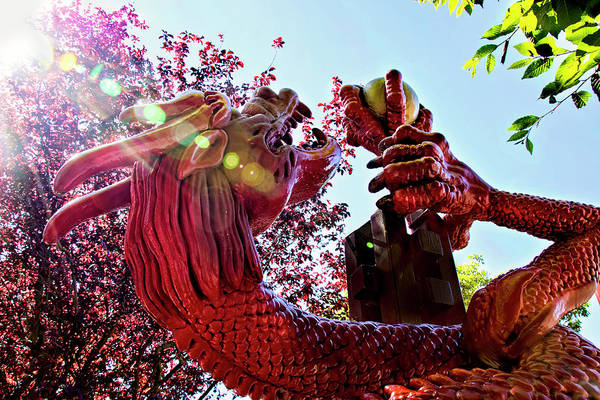 Photograph - Red Dragon In Chinatown - Victoria, British Columbia by Peggy Collins
