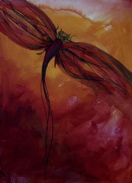 Dragon Fly Painting - Red Dragonfly by Julie Lueders