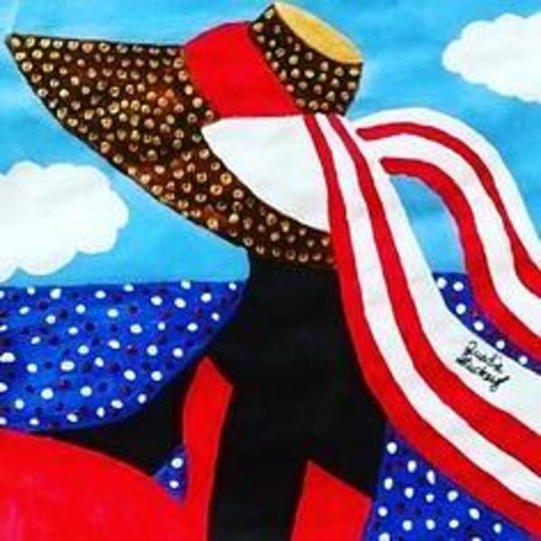 Gullah People Wall Art - Painting - Red Dress And The Sea by Quadre' Stuckey