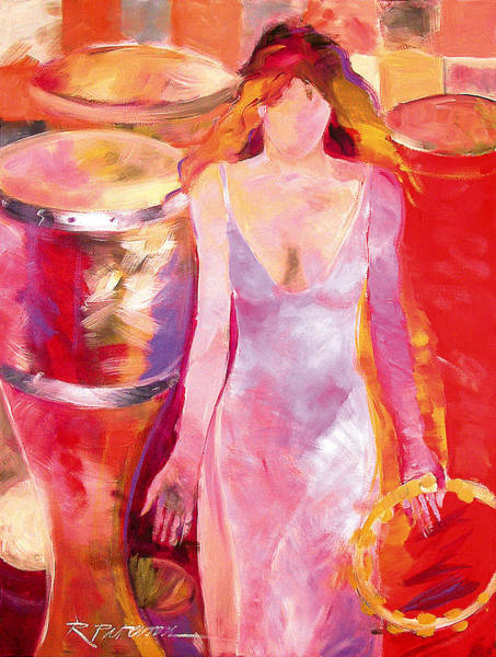 Conga Drum Painting - Red Drum And Tambourine by Ron Patterson