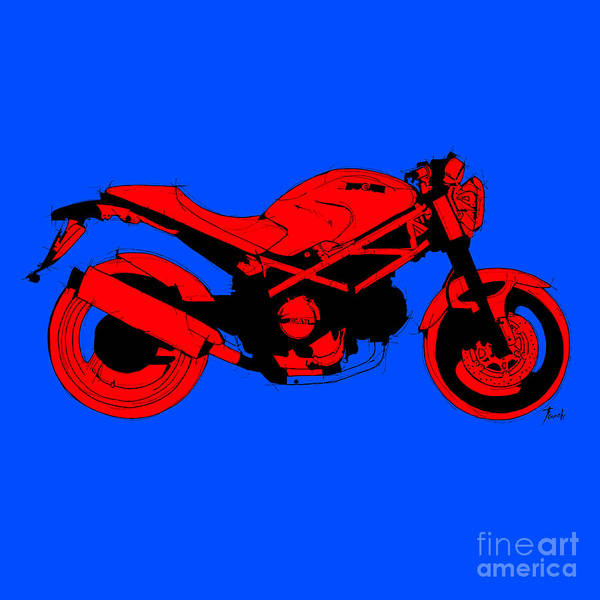 Wall Art - Digital Art - Red Ducati Abstract Motorcycle, Red And Blue by Drawspots Illustrations