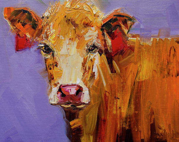 Wall Art - Painting - Red Earring Cow by Diane Whitehead