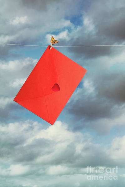 Wall Art - Photograph - Red Envelope On Washing Line by Amanda Elwell