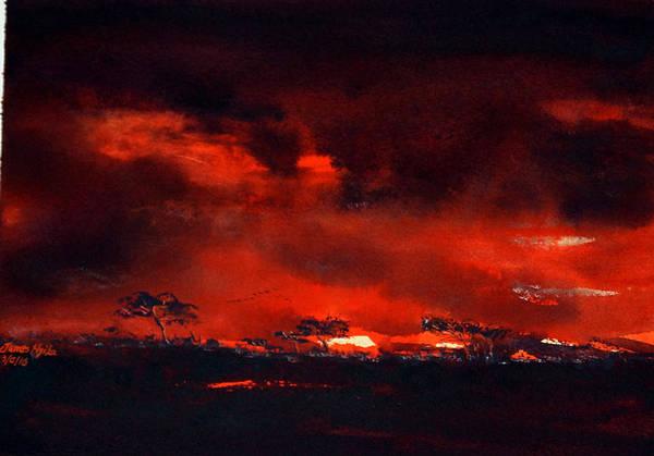 Wall Art - Painting - Red Evening, Tarangire by James Nyika