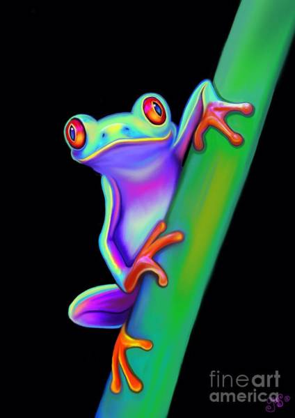 Wall Art - Painting - Red Eyed Tree Frog Hanging On by Nick Gustafson