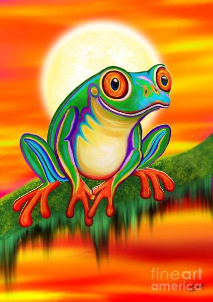Wall Art - Painting - Red Eyed Treefrog Sunset by Nick Gustafson