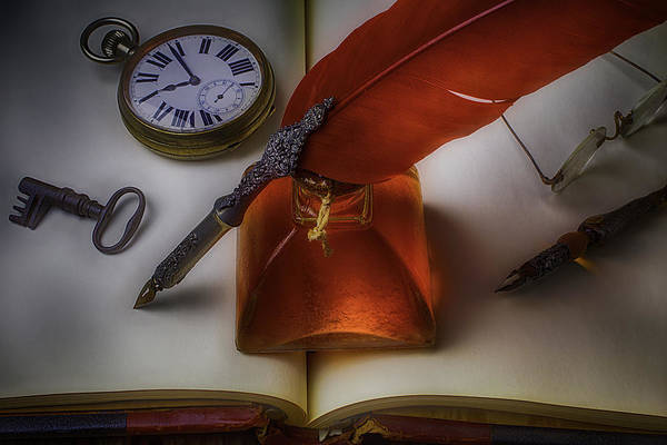 Skeleton Key Photograph - Red Feather Pen by Garry Gay
