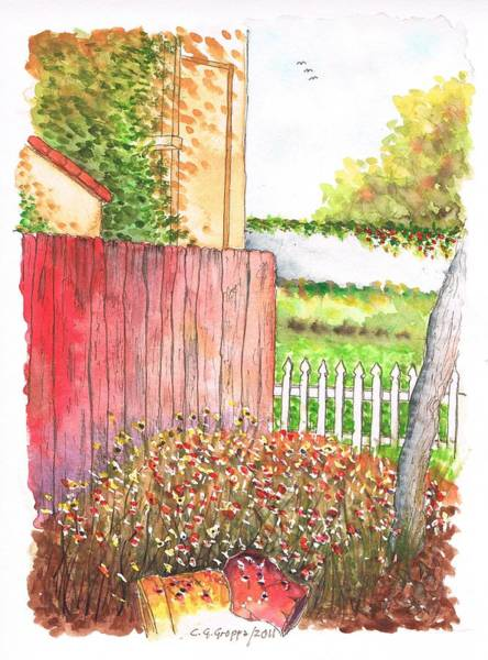 Acuarela Painting - Red Fence In Lompoc - California by Carlos G Groppa