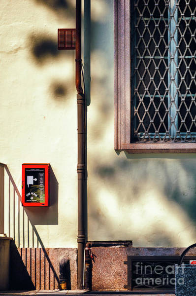 Photograph - Red Fire Box With Window, Shadows And Gutter by Silvia Ganora