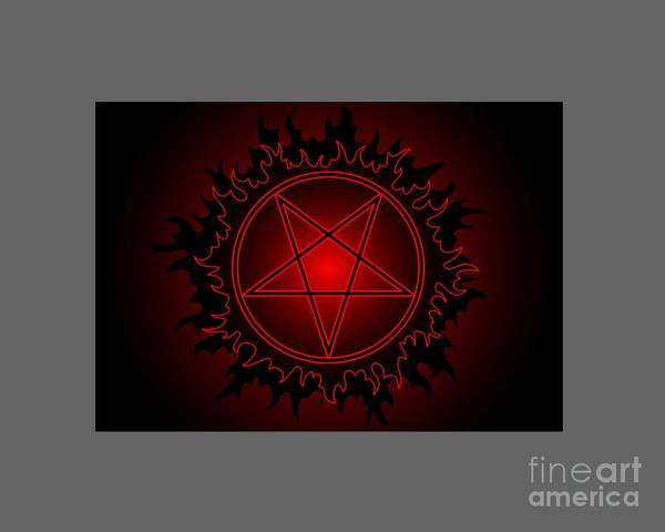Satanism Digital Art - Red Fire Pentacle by Frederick Holiday