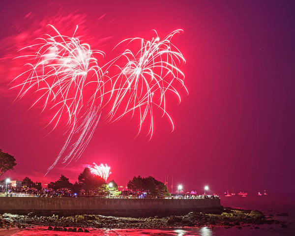 Photograph - Red Fireworks Over Red Rock Park In Lynn Ma by Toby McGuire