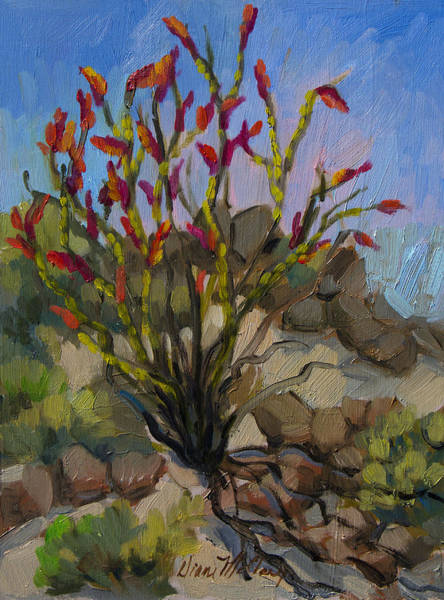 La Quinta Wall Art - Painting - Red Flame Ocotillo 5 by Diane McClary