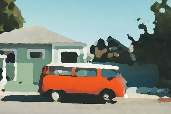 Digital Art - Red Flatnose Micro Bus by Shelli Fitzpatrick