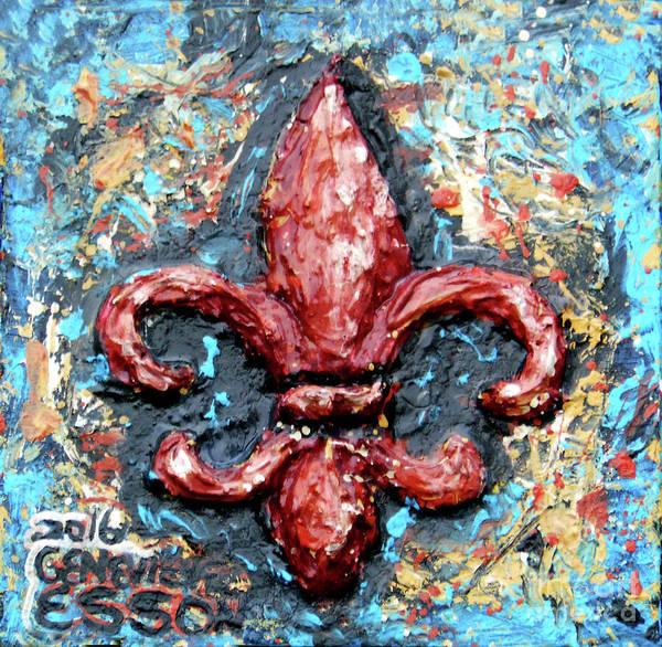 Fleur De Lys Painting - Red Fleur De Lis by Genevieve Esson