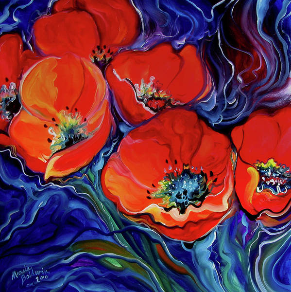 Painting - Red Floral Abstract by Marcia Baldwin