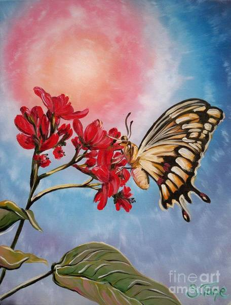 Painting - Chloe The    Flying Lamb Productions           Red Flower Butterfly by Sigrid Tune