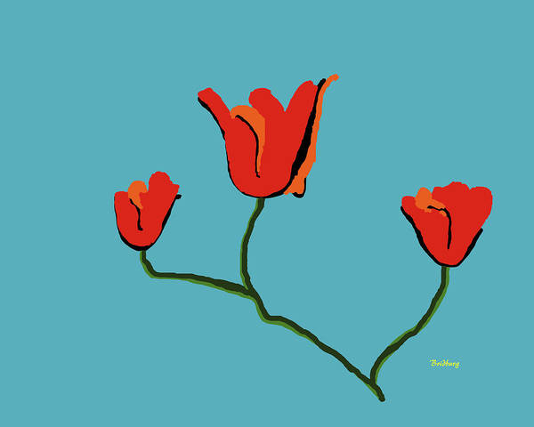 Digital Art - Red Flowers by David Bridburg