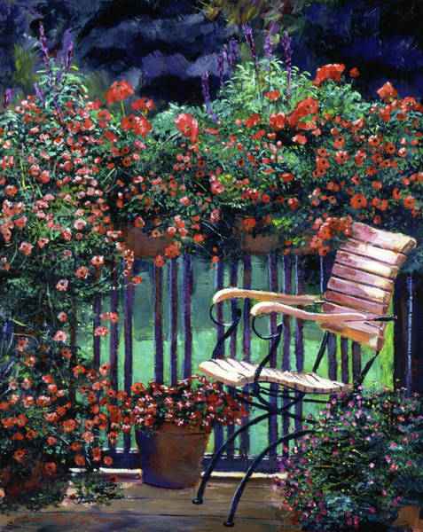 Wall Art - Painting - Red Flowers Garden Chair by David Lloyd Glover