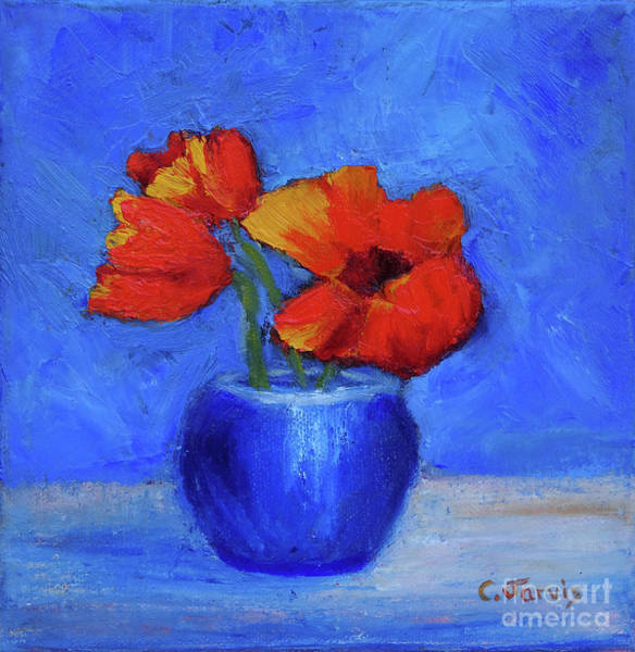 Painting - Red Flowers In Blue Vase by Carolyn Jarvis