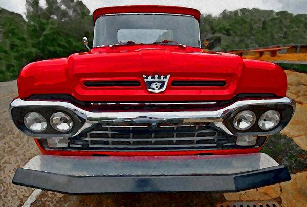 Painting - Red Ford Pickup Head On by Michael Thomas