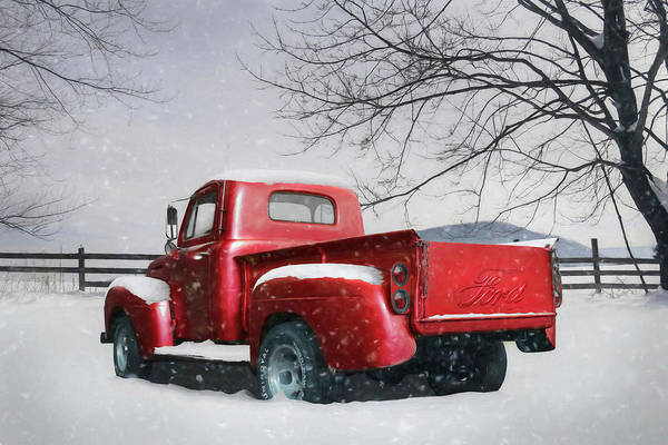 Pickup Man Photograph - Red Ford Pickup by Lori Deiter