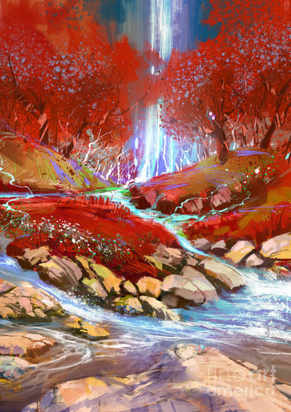 Art Print featuring the painting Red Forest by Tithi Luadthong