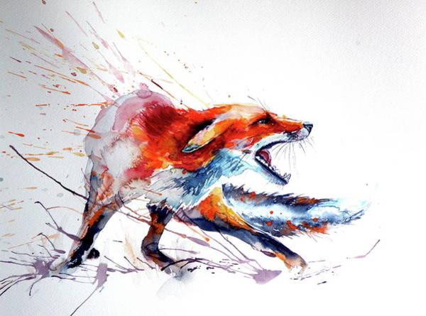 Wall Art - Painting - Red Fox /big by Kovacs Anna Brigitta