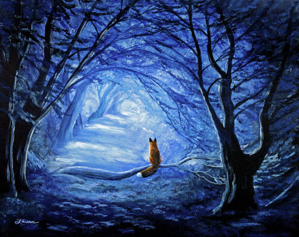 Red Moon Painting - Red Fox In Blue Cypress Grove by Laura Iverson