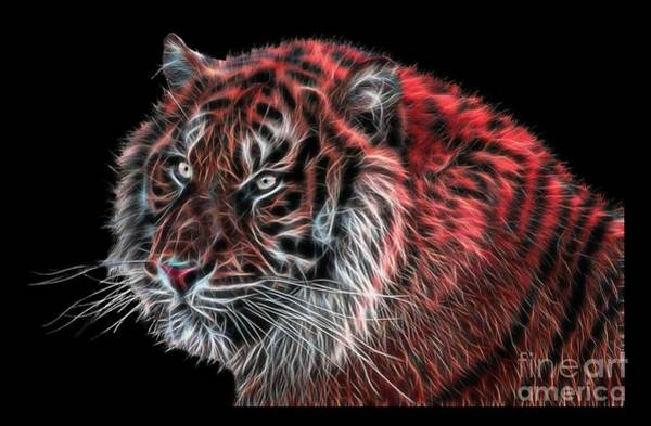 Digital Art - Red Fractal Tiger by Tracey Everington