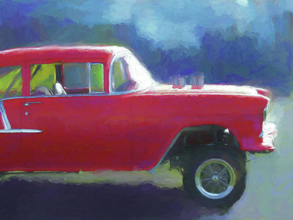 1955 Chevy Digital Art - Red Gasser Dop by David King