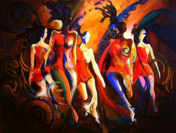 Irish Dance Painting - Red by Georg Douglas