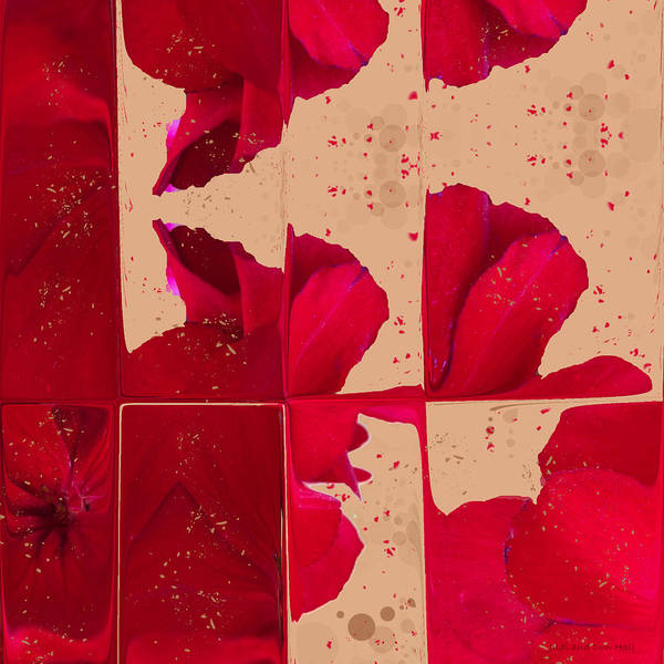 Digital Art - Red Geranium Fragments by Judi and Don Hall