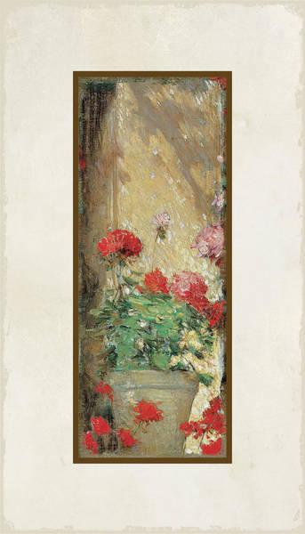 Dappled Light Painting - Red Geranium Pots by Audrey Jeanne Roberts