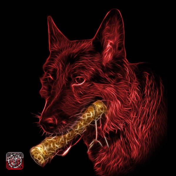 Digital Art - Red German Shepherd And Toy - 0745 F by James Ahn