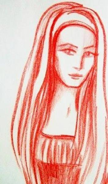 Drawing - Red Girl Sketch by Danielle R T Haney