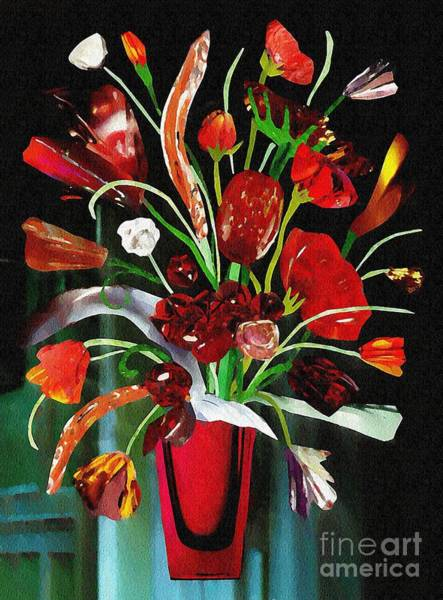 Bright Flowers Mixed Media - Red Glass Bouquet by Sarah Loft