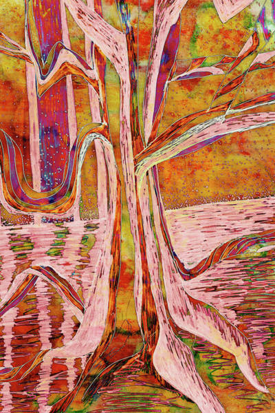 Painting - Red-gold Autumn Glow River Tree by Gecko Joy