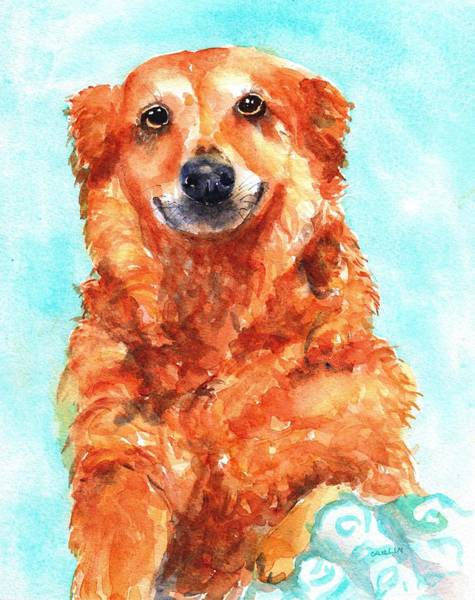 Pedigree Painting - Red Golden Retriever Smile by Carlin Blahnik CarlinArtWatercolor