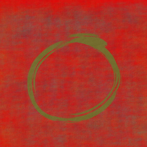 Wall Art - Digital Art - Red Green Enso by Julie Niemela