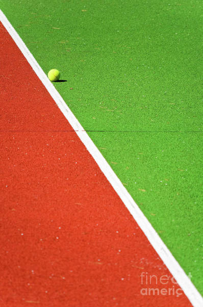 Colorful Photograph - Red Green White Line And Tennis Ball by Silvia Ganora
