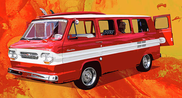 Corvair Photograph - Red Greenbrier Pop Art by Ron Regalado