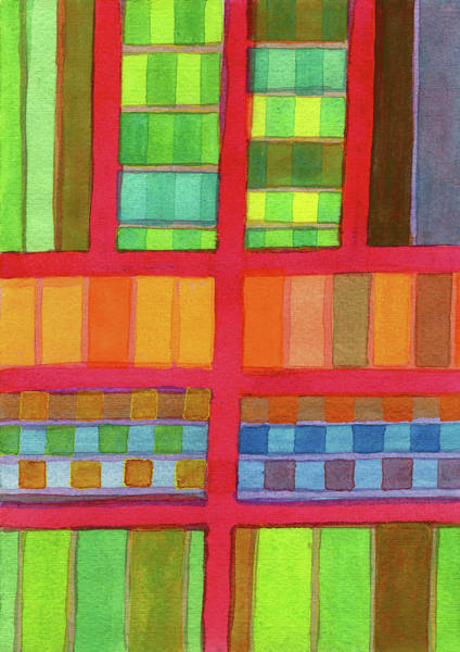 Similar Painting - Red Grid With Checks Pattern And Vertical Stripes  by Heidi Capitaine