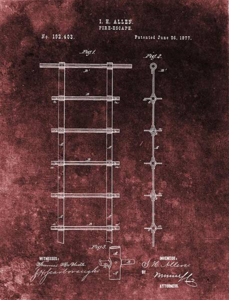 Digital Art - Red Grunge Fire Escape Patent by Dan Sproul