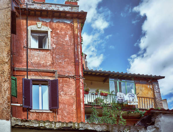 Photograph - Red Grunge House In Rome by Fine Art Photography Prints By Eduardo Accorinti