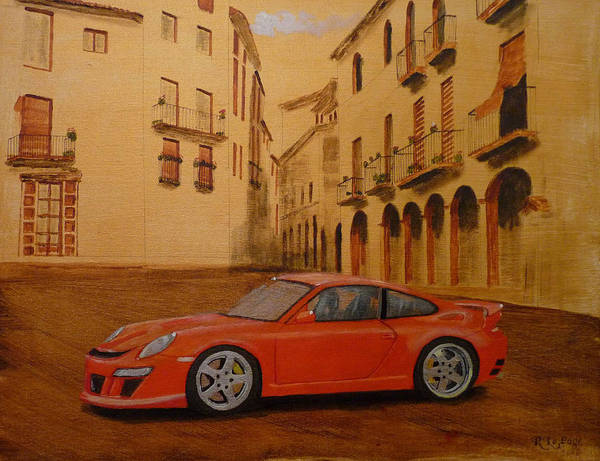 Painting - Red Gt3 Porsche by Richard Le Page