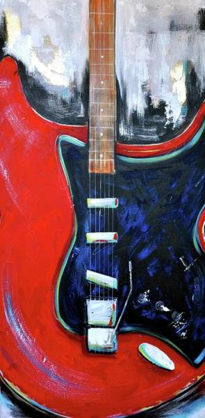 Wall Art - Painting - Red Guitar by Debi Starr