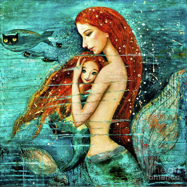 Wall Art - Painting - Red Hair Mermaid Mother And Child by Shijun Munns