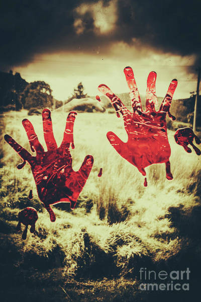 Dirty Photograph - Red Handprints On Glass Of Windows by Jorgo Photography - Wall Art Gallery