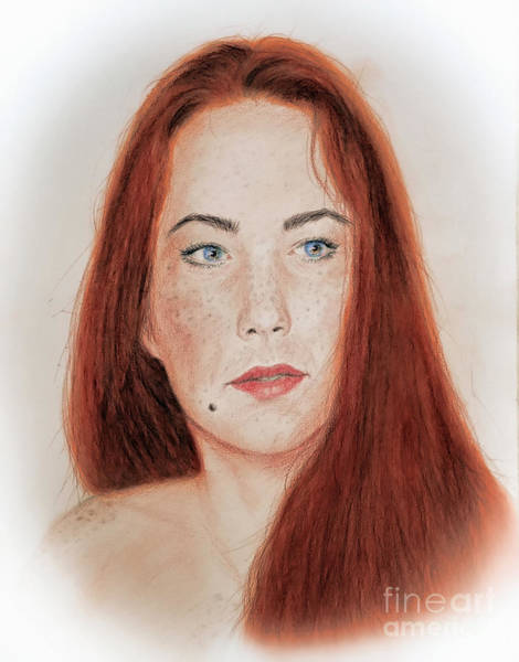 Freckle Drawing - Red Headed Beauty by Jim Fitzpatrick